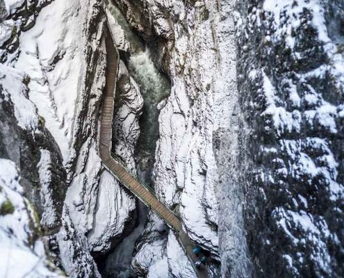 Breitachklamm bei Oberstdorf im Oberallgäu Im Winter